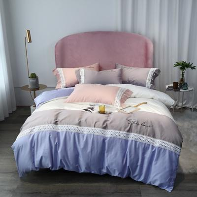 2019新款60支新品四件套 1.8m床单款四件套 莎丽-粉紫