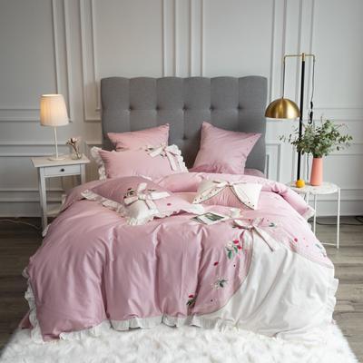 2020新款60支新品四件套 1.5m床单款四件套 丝甜-粉色