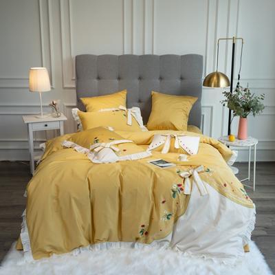 2020新款60支新品四件套 1.5m床单款四件套 丝甜-黄色