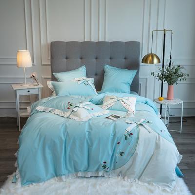 2020新款60支新品四件套 1.5m床单款四件套 丝甜-蓝色