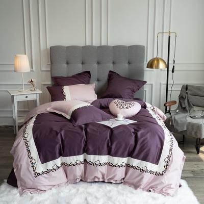 2019新款60支新品四件套 1.5m床單款四件套 斯威特-紫色