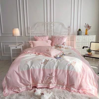 2020新款60长绒棉四件套 1.2m床单款三件套 游梦园-甜美粉