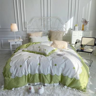 2020新款60长绒棉四件套 1.5m床单款四件套 奶油绿