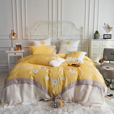 2020新款80天丝系列四件套 1.5m床单款四件套 雏菊-柠檬黄
