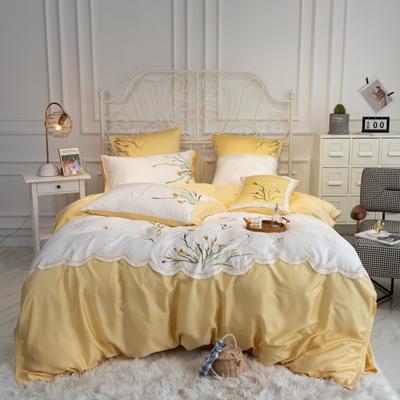 2020新款80天丝系列四件套 1.5m床单款四件套 薇娅-柠檬黄