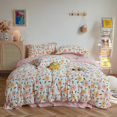 2020新款230克牛奶绒环保活性印花系列四件套-ins风花卉系列 1.2m床单款三件套 秘密花园-可爱粉