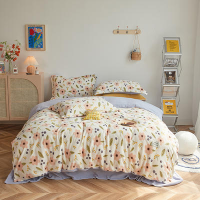 2020新款230克牛奶绒环保活性印花系列四件套-ins风花卉系列 1.2m床单款三件套 邂逅-浅米色