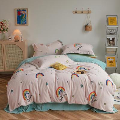 2020新款230克牛奶绒环保活性印花系列四件套-ins风卡通系列 1.2m床单款三件套 彩虹漾-樱花粉