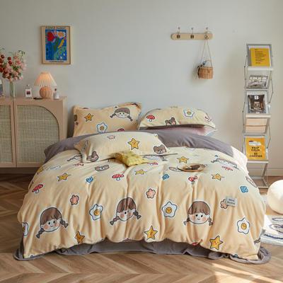 2020新款230克牛奶绒环保活性印花系列四件套-ins风卡通系列 1.2m床单款三件套 可爱女孩