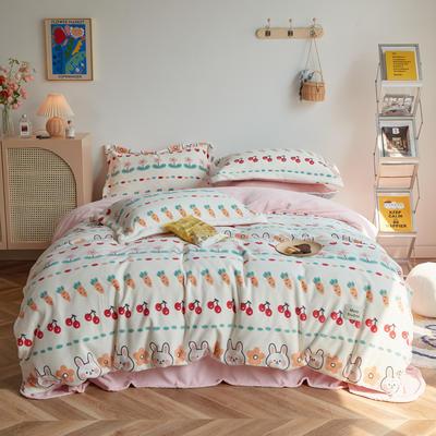 2020新款230克牛奶绒环保活性印花系列四件套-ins风卡通系列 1.2m床单款三件套 可爱兔