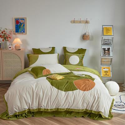2020新款宝宝绒四件套 1.5m床单款四件套 米娜-绿色