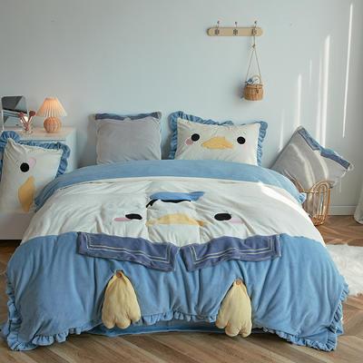 2020新款牛奶绒系列四件套-可爱鸭 1.2m床单款三件套 可爱鸭-蓝