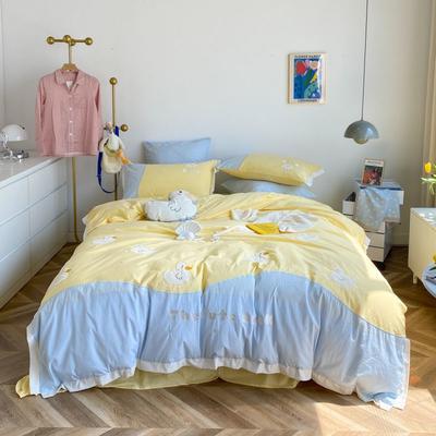 2021新款治愈系ins风水洗棉系列《萌鸭》 1.5m床单款四件套 奶油黄