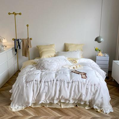 2021新款80S天丝法式复古田园风系列四件套《索菲娜》 1.5m床单款四件套 古铜白+奶油黄
