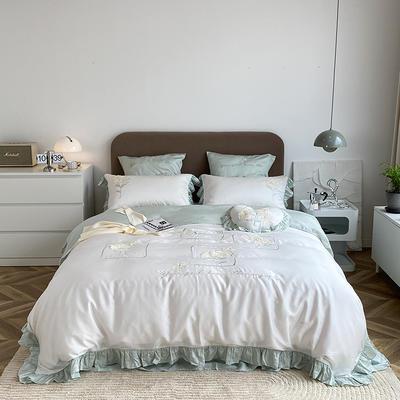 2021新款80天丝系列四件套-爱丽丝 1.5m床单款四件套 古铜白+浪花绿