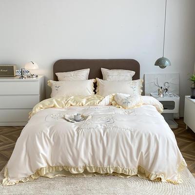 2021新款80天丝系列四件套-爱丽丝 1.5m床单款四件套 乳蛋白+奶油黄
