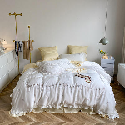 2021新款80天丝系列四件套-索菲娜 1.5m床单款四件套 铜白+奶油黄
