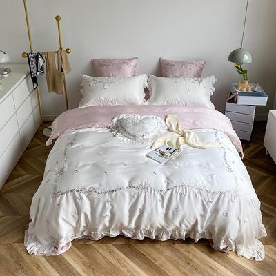 2021新款80天丝系列四件套-索菲娜 1.5m床单款四件套 古铜白+燕麦色