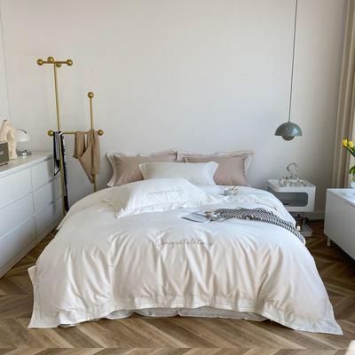 2021新款100支贡缎长绒棉系列四件套-安娜 1.5m床单款四件套 富士白