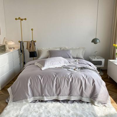 2021新款100支贡缎长绒棉系列四件套-安娜 1.5m床单款四件套 海盐灰