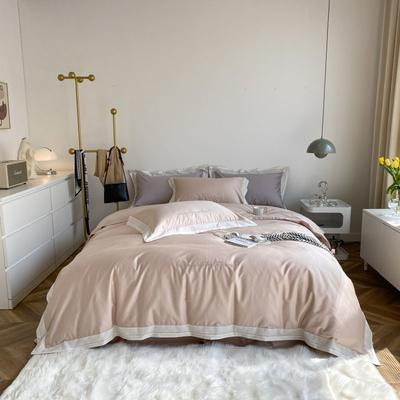 2021新款100支贡缎长绒棉系列四件套-安娜 1.5m床单款四件套 马卡粉