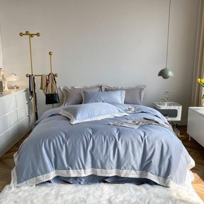 2021新款100支贡缎长绒棉系列四件套-安娜 1.5m床单款四件套 夏天蓝