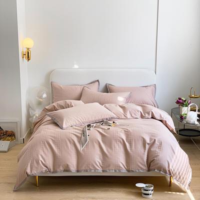 2021新款100支贡缎长绒棉系列四件套-千鸟格 1.5m床单款四件套 复古橡粉