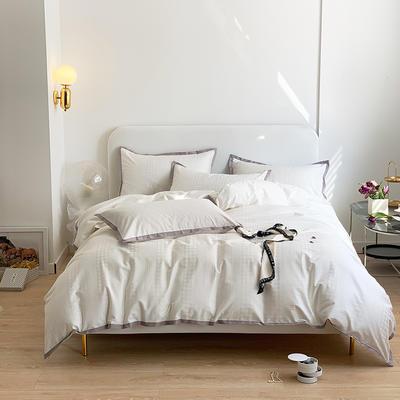 2021新款100支贡缎长绒棉系列四件套-千鸟格 1.5m床单款四件套 富士白