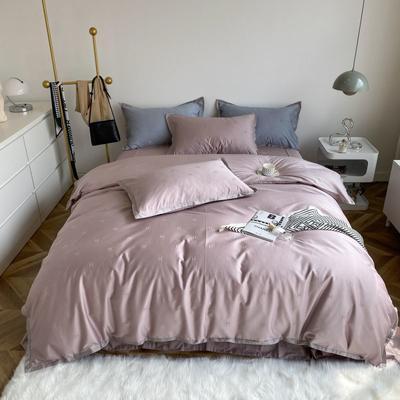 2021新款100支贡缎长绒棉系列四件套-小香风 1.5m床单款四件套 豆沙色
