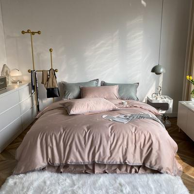 2021新款100支贡缎长绒棉系列四件套-小香风 1.5m床单款四件套 复古橡粉