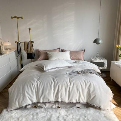 2021新款100支贡缎长绒棉系列四件套-小香风 1.5m床单款四件套 富士白