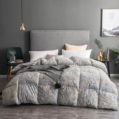 2019新款羽绒被冬被被芯—100支数码印花 200X230cm  2.4斤 蓝调梵音(90白鹅绒)
