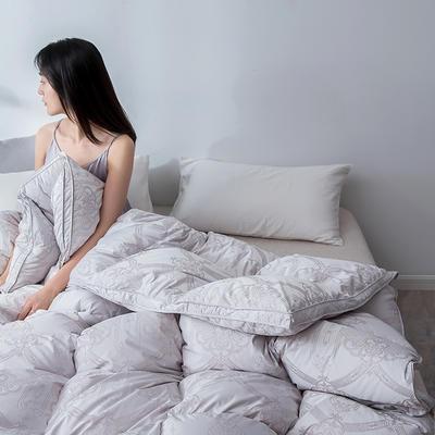 2019新款羽绒被冬被被芯—仿真丝--色彩系列 200X230cm 2.4斤(色彩提花) 灰色(90白鸭绒)