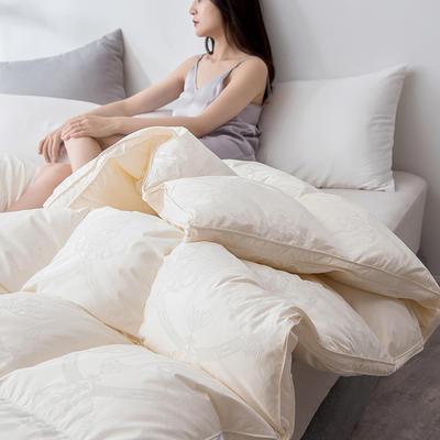 2019新款羽绒被冬被被芯—仿真丝--色彩系列 200X230cm 2.4斤(色彩提花) 米色(90白鸭绒)