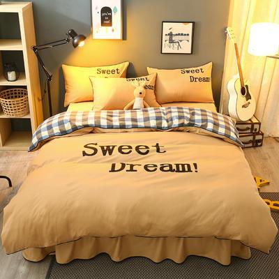 弘迪家纺  全棉活性大版印花床裙四件套 1.2m(4英尺)床 淡黄