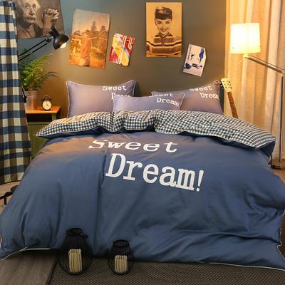 弘迪家纺  全棉活性大版印花床裙四件套 1.2m(4英尺)床 深蓝