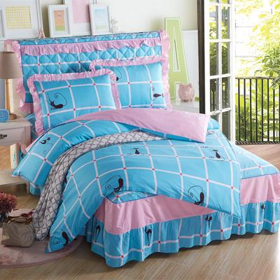 2018新款纯棉床裙四件套 1.2m(4英尺)床 时尚猫咖