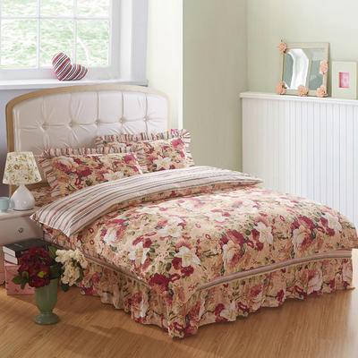 2018新款纯棉床裙四件套 1.2m(4英尺)床 胭脂浮华