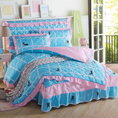 2018新款纯棉夹棉四件套 1.2m(4英尺)床 时尚猫咖