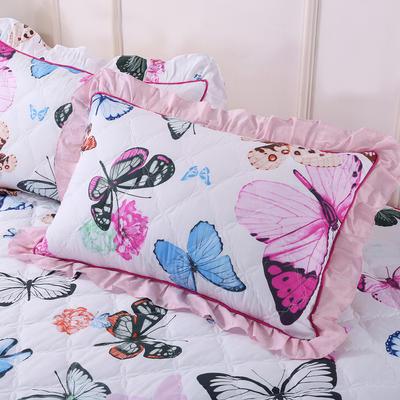 2018新款夹棉花边枕套 48cmX74cm/对 迷蒙叠香
