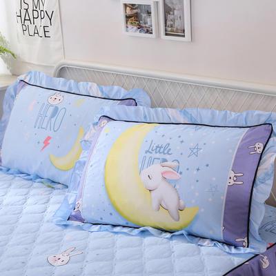 2018新款夹棉花边枕套 48cmX74cm/对 月野兔