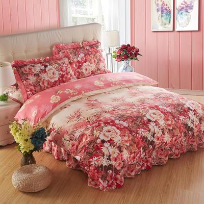 2018新款夹棉床裙四件套 1.2m(4英尺)床 宁静花开