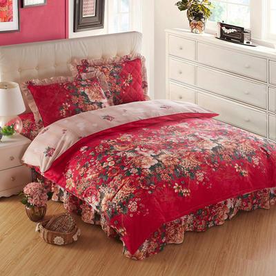 2018新款夹棉床裙四件套 1.2m(4英尺)床 塞纳舞曲(红)