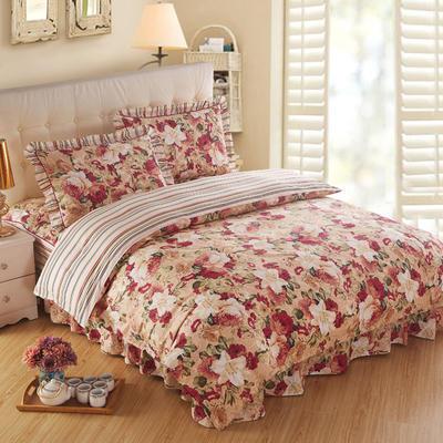 2018新款夹棉床裙四件套 1.2m(4英尺)床 胭脂浮华