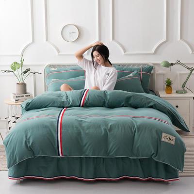 2018新款全棉磨毛床单款四件套 1.5m(5英尺)床 草绿