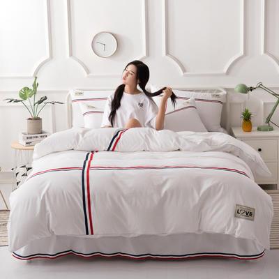 2018新款全棉磨毛床裙款四件套 1.2m(4英尺)床 白色