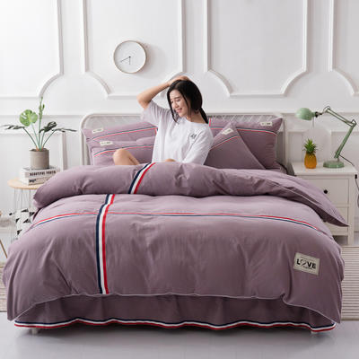 2018新款全棉磨毛床裙款四件套 1.2m(4英尺)床 豆沙