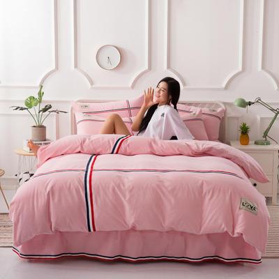 2018新款全棉磨毛床裙款四件套 1.2m(4英尺)床 粉色