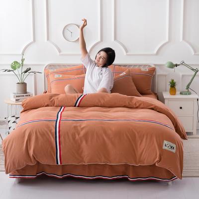 2018新款全棉磨毛床裙款四件套 1.2m(4英尺)床 橘黄