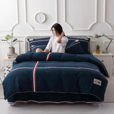 2018新款全棉磨毛床裙款四件套 1.8m(6英尺)床 墨蓝